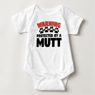 Warning Protected By A Mutt Baby Bodysuit