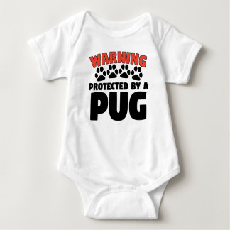 Warning Protected By A Pug Baby Bodysuit