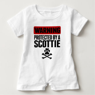 Warning Protected By A Scottie Baby Romper