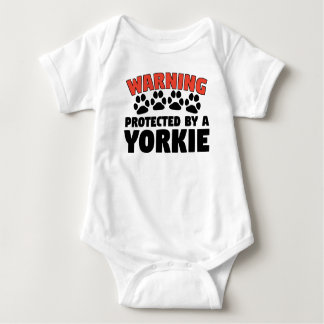 Warning Protected By A Yorkie Baby Bodysuit