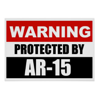 WARNING - PROTECTED BY AR-15  Poster/Sign Poster