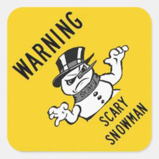 Warning Scary Snowman Sticker