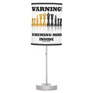 Warning! Scheming Mind Inside Chess Humor Table Lamp