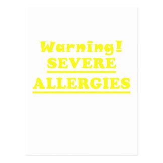 Warning Severe Allergies Postcard