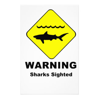 Warning Sharks Sighted Symbol Stationery