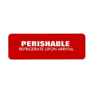 Warning  Shipping Perishable Red