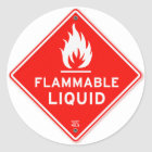 Warning Sign Flammable Liquids Fire Safety Sign Classic Round Sticker