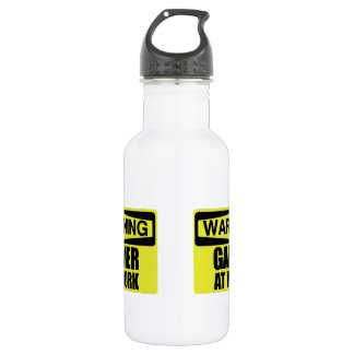 Warning Sign Gamer At Work Funny 532 Ml Water Bottle