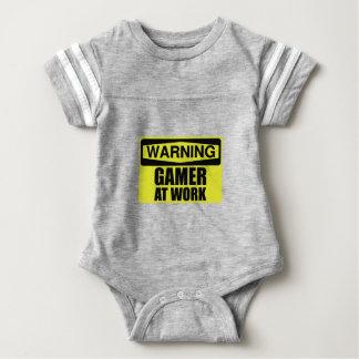 Warning Sign Gamer At Work Funny Baby Bodysuit