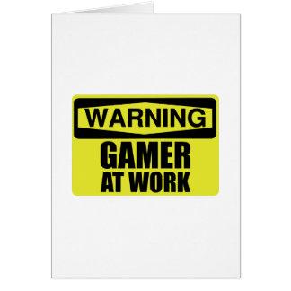 Warning Sign Gamer At Work Funny Card