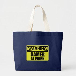 Warning Sign Gamer At Work Funny Large Tote Bag