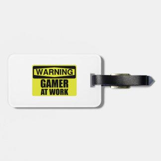 Warning Sign Gamer At Work Funny Luggage Tag