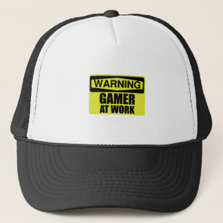 Warning Sign Gamer At Work Funny Trucker Hat