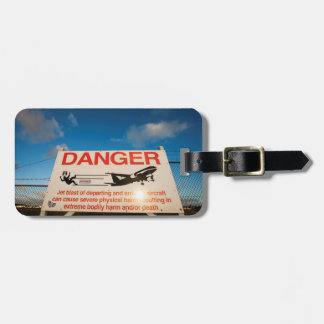 Warning sign near St. Maarten Airport, Luggage Tag