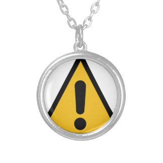 Warning Sign Silver Plated Necklace