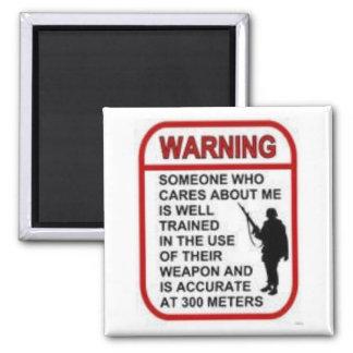 WARNING SQUARE MAGNET
