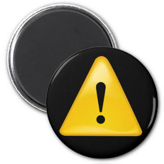 Warning symbol exclamation point triangle 2 inch round magnet