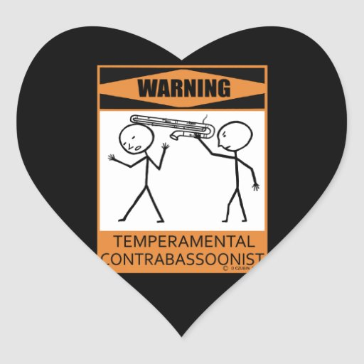 Warning! Temperamental Contrabassoonist Stickers