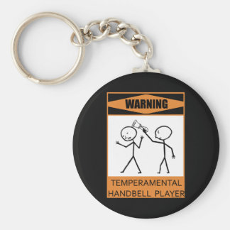 Warning Temperamental Handbell Player Keychain
