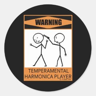 Warning! Temperamental Harmonica Player Classic Round Sticker