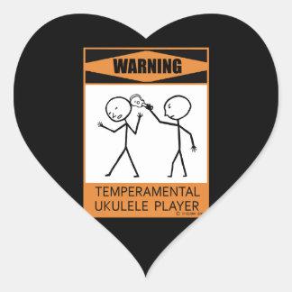 Warning! Temperamental Ukulele Player Heart Sticker