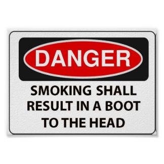 Warning to smokers poster