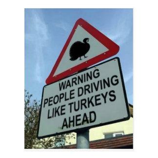 'Warning: Turkey drivers ahead' Postcard