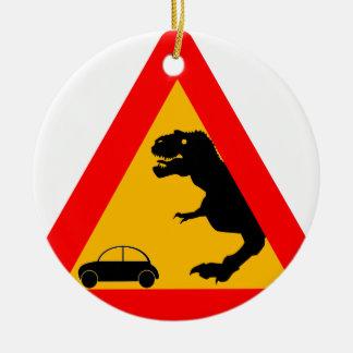 Warning Tyrannosaurus Rex Ceramic Ornament