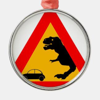 Warning Tyrannosaurus Rex Metal Ornament