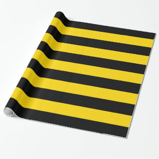 Warning Yellow and Black Caution Striped Wrapping Paper