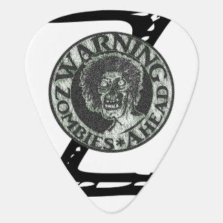 Warning Zombies * Ahead - Green & White Logo Guitar Pick