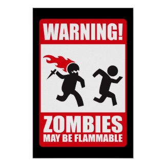 Warning: Zombies are flammable Poster