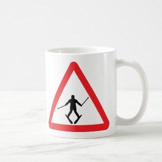 warnsign ski learner - skiing skier plow coffee mug