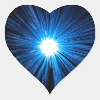 Warp speed blue. heart sticker