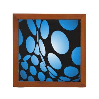 Warped Blue Dots on Black Desk Organizer