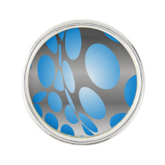 Warped Blue Dots on Silver Lapel Pin