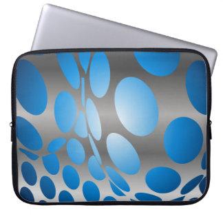 Warped Blue Dots on Silver Laptop Sleeve