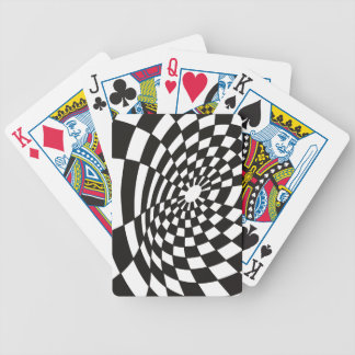 Warped Checkerboard in Black and White Bicycle Playing Cards