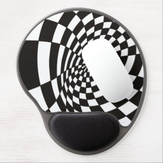 Warped Checkerboard in Black and White Gel Mouse Pad