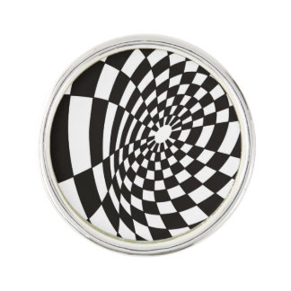 Warped Checkerboard in Black and White Lapel Pin