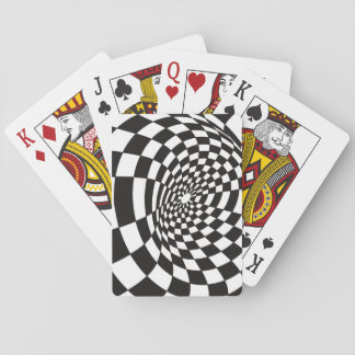 Warped Checkerboard in Black and White Playing Cards