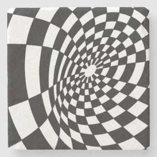 Warped Checkerboard in Black and White Stone Coaster