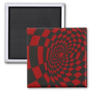 Warped Crimson Checkerboard Square Magnet
