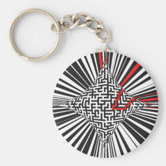 Warped Maze Explosion Basic Round Button Keychain