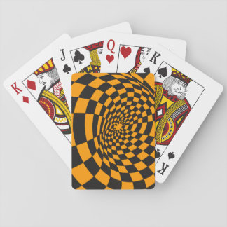 Warped Yellow and Black Checkerboard Playing Cards