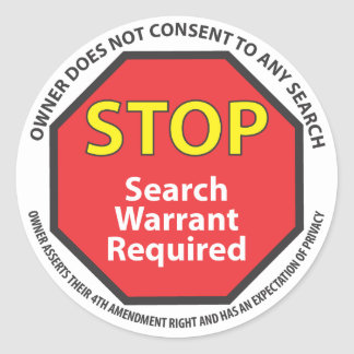 Warrant required stickers