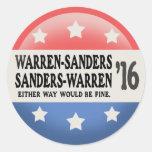 Warren - Sanders, Sanders Warren Round Stickers