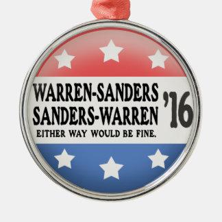 Warren - Sanders, Sanders Warren Silver-Colored Round Ornament