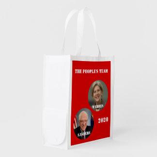 Warren & Sanders - The People's Team 2020 Election Reusable Grocery Bag