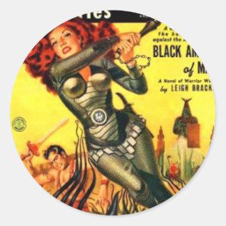 Warrier Maiden on Mars Classic Round Sticker